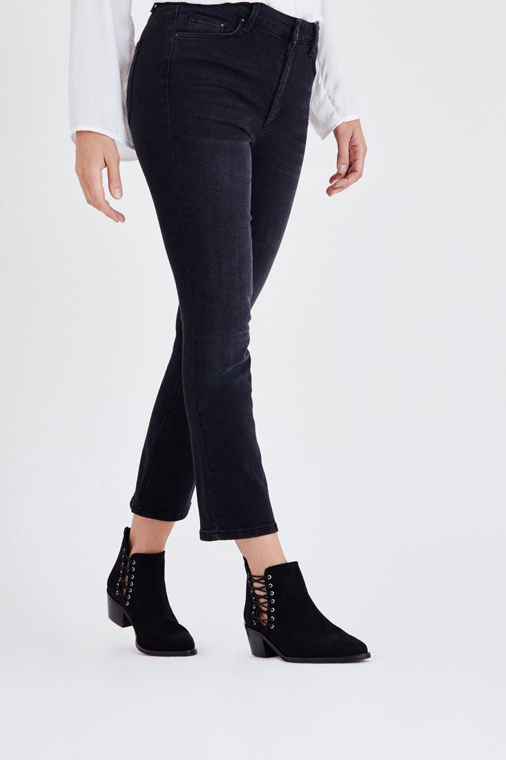 Bayan Siyah Kısa Paçalı Jean