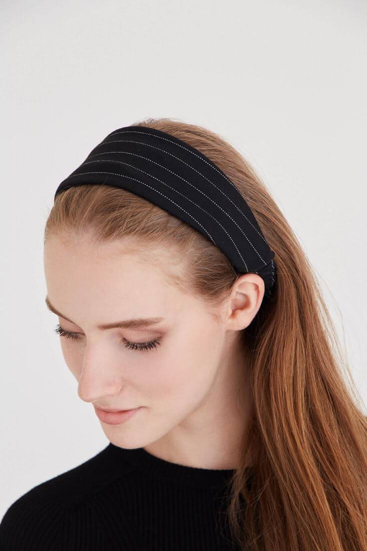 Bayan Siyah Çizgili Saç Bandı