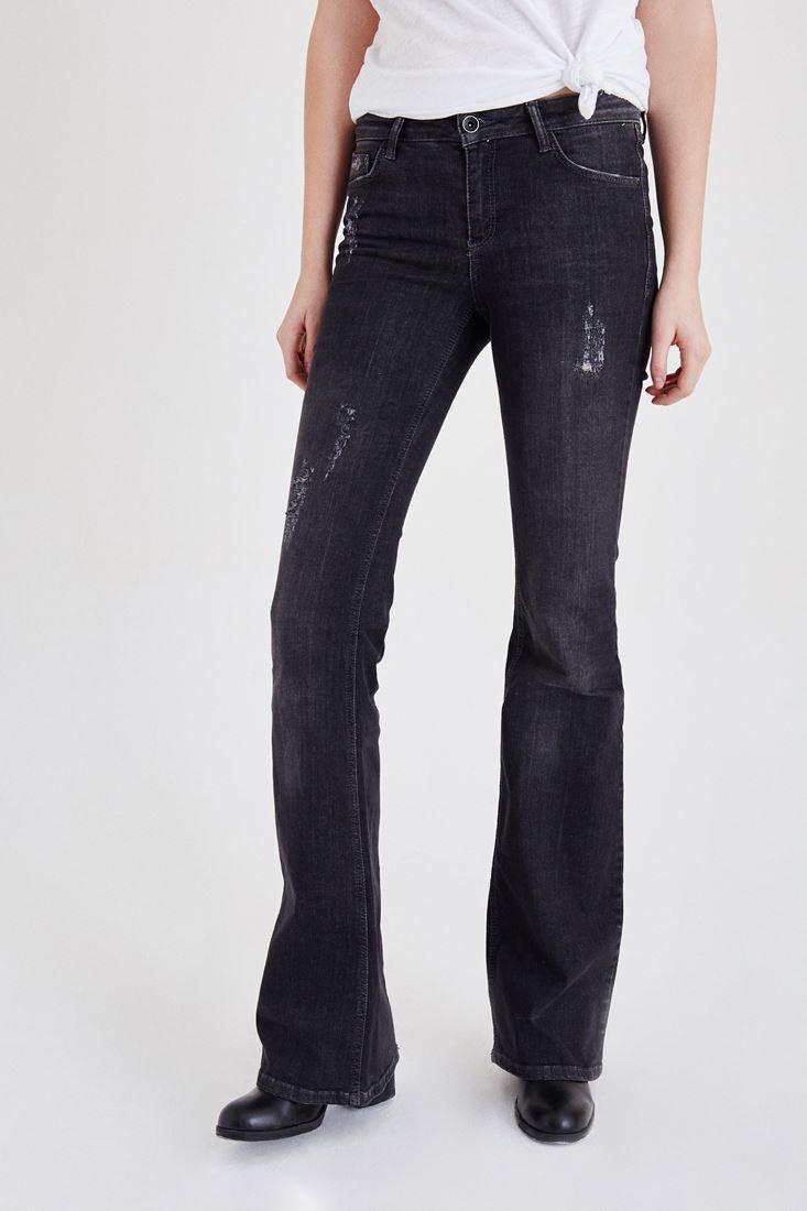 Bayan Siyah İspanyol Paça Kot Pantolon