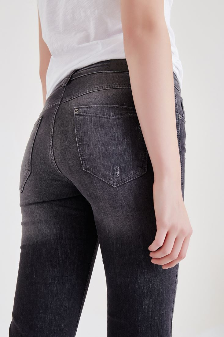 Bayan Gri İspanyol Paça Kot Pantolon