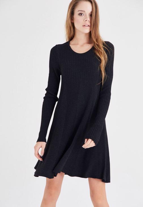 Siyah Mini Triko Elbise