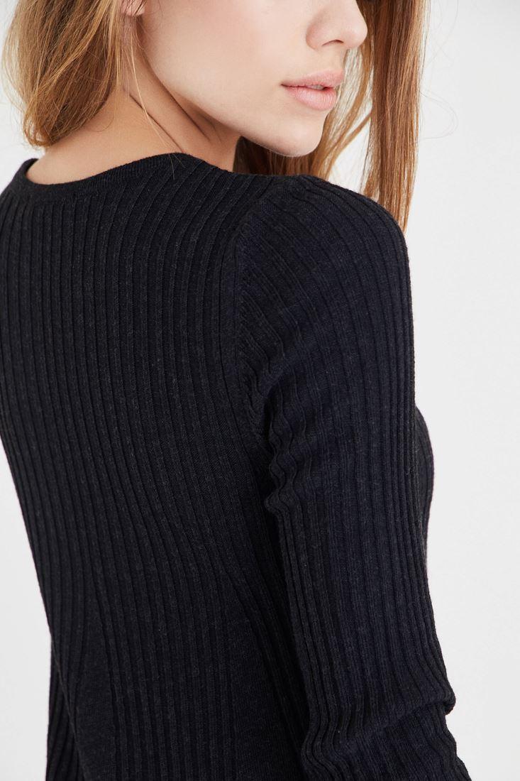 Bayan Siyah Mini Triko Elbise