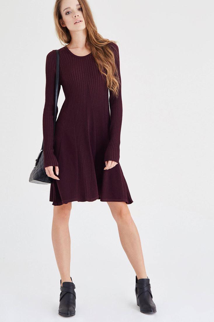 Bayan Bordo Mini Triko Elbise