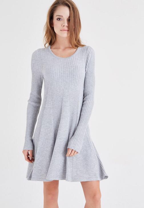 Gri Mini Triko Elbise