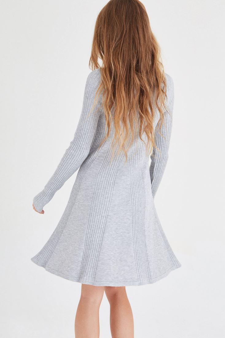 Bayan Gri Mini Triko Elbise