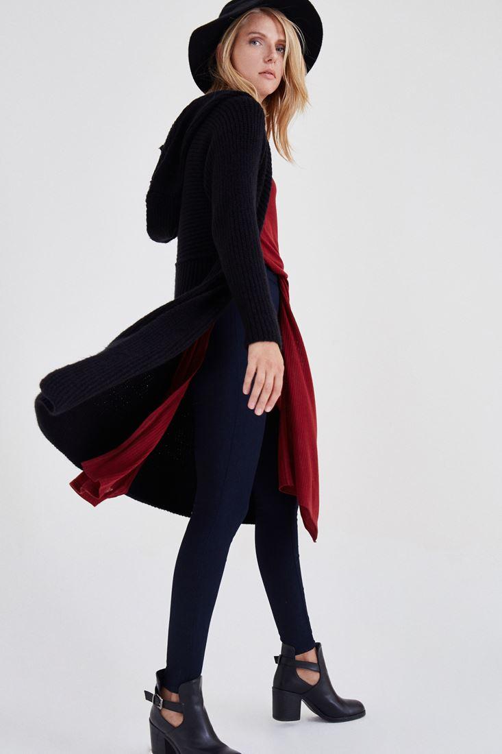 Bayan Siyah Uzun Kapüşonlu Hırka