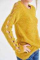Bayan Sarı Kol Detaylı Kazak
