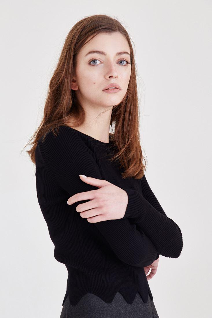 Bayan Siyah Asimetrik Kesimli Kazak