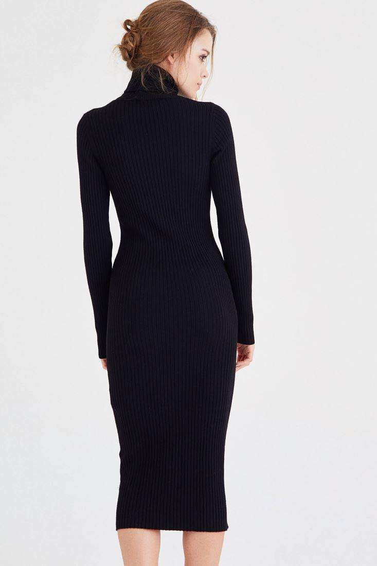Bayan Siyah Boğazlı Triko Elbise