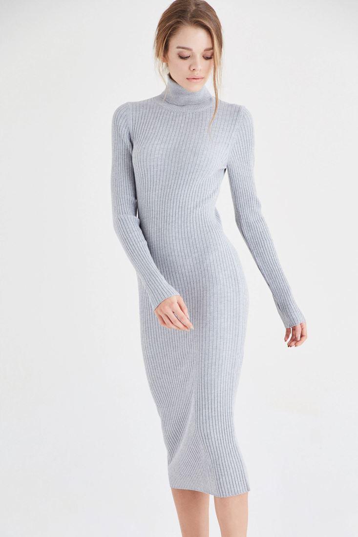 Bayan Gri Boğazlı Triko Elbise