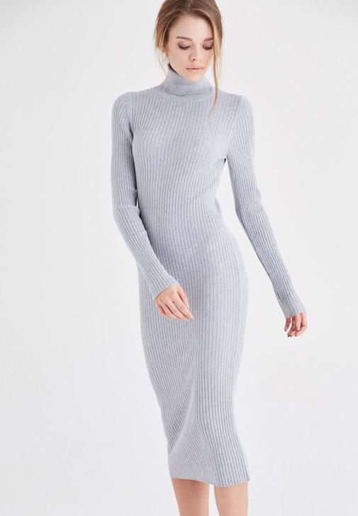 Gri Boğazlı Triko Elbise