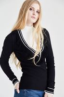 Bayan Siyah Püsküllü Triko Kazak