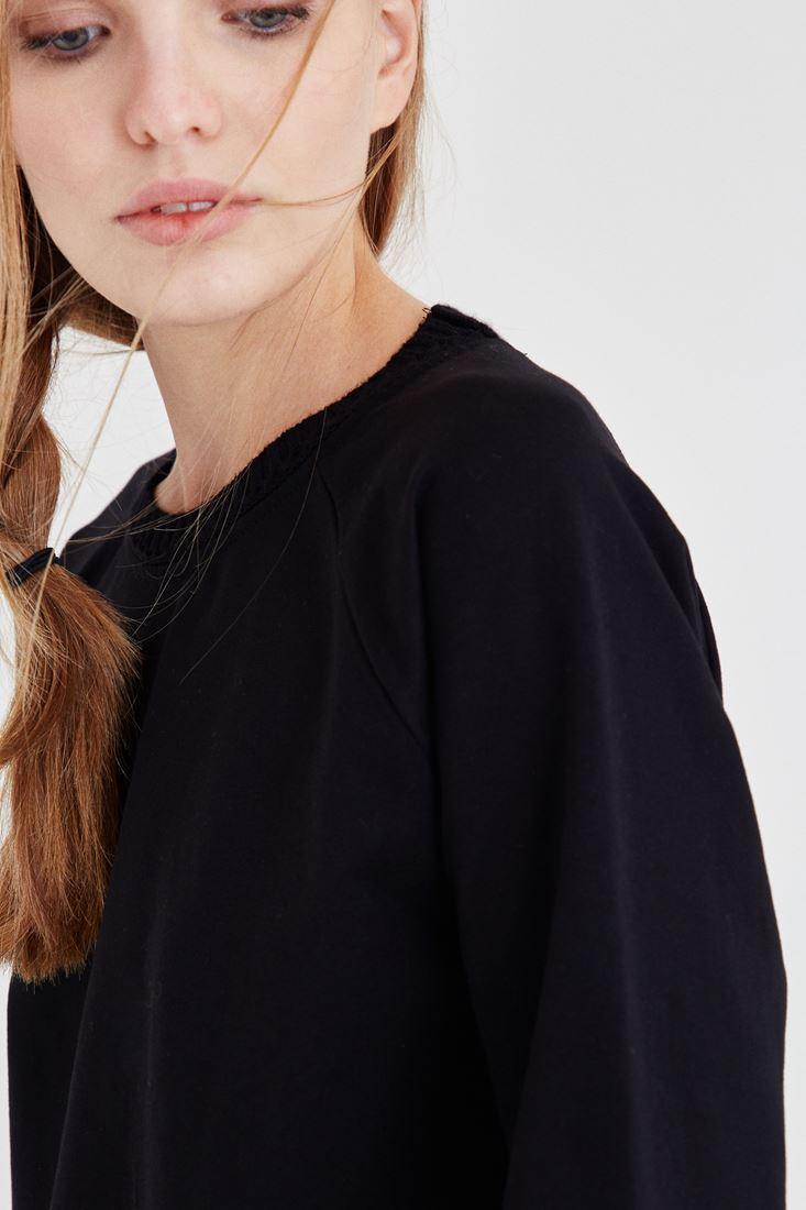 Bayan Siyah Basic Sweatshirt