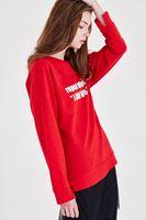 Bayan Kırmızı Slogan Baskılı Sweatshirt