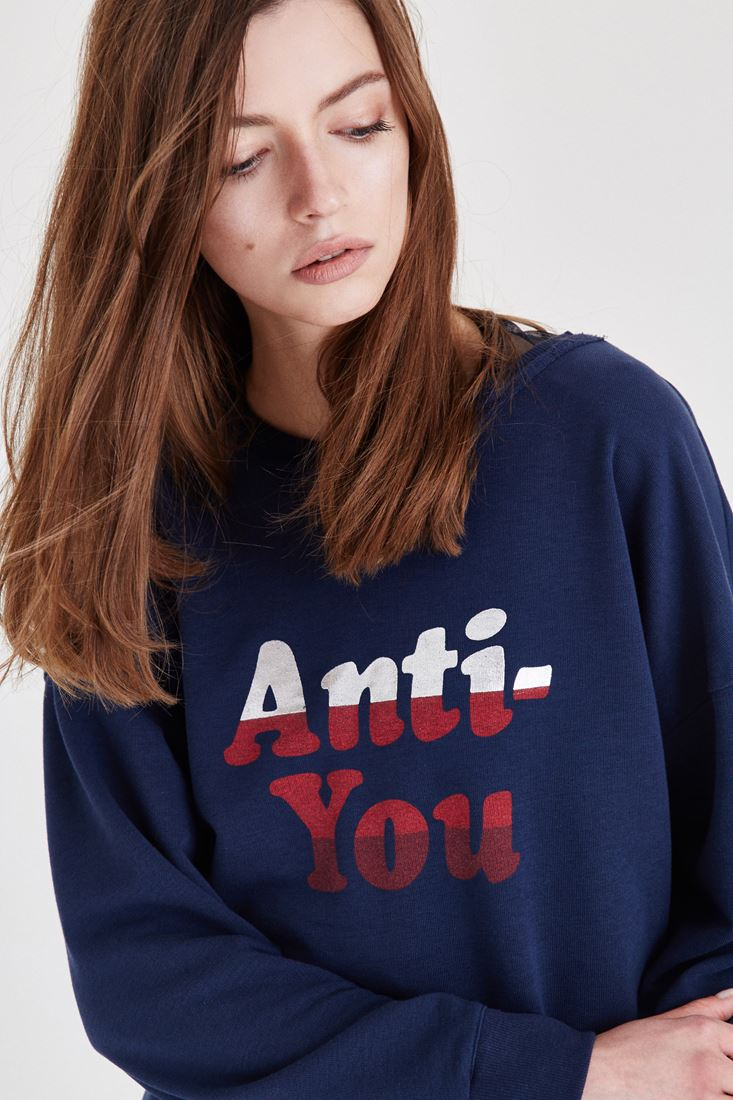 Lacivert Slogan Detaylı Sweatshirt