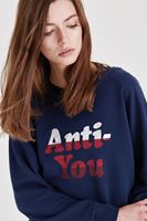Bayan Lacivert Slogan Detaylı Sweatshirt