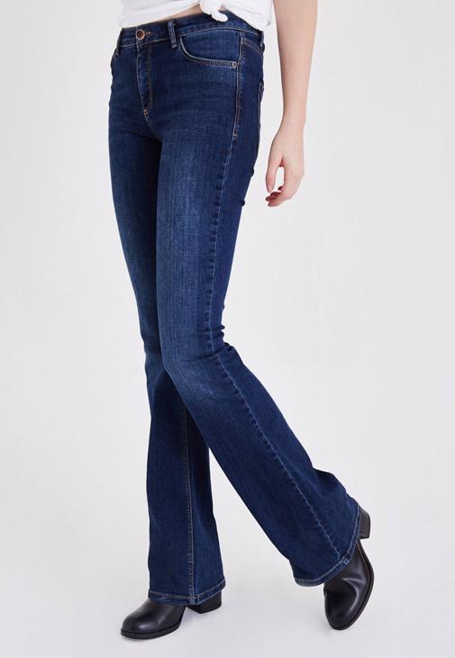 Mavi Düşük Bel İspanyol Paça Pantolon