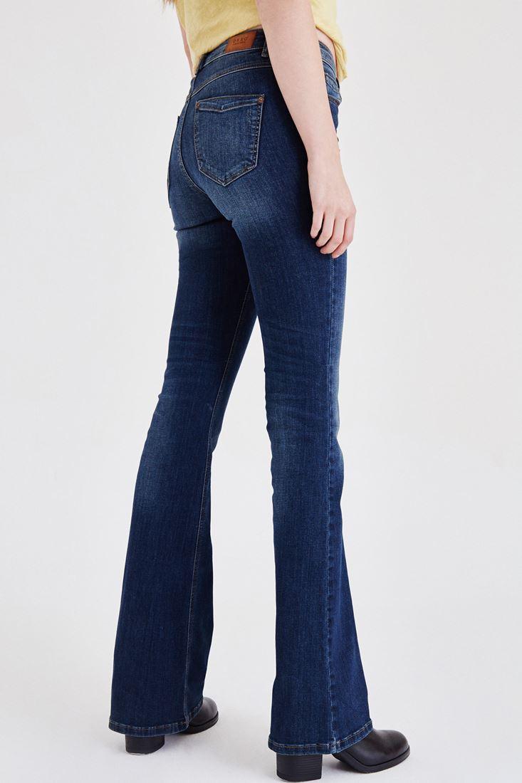 Bayan Mavi Düşük Bel İspanyol Paça Pantolon