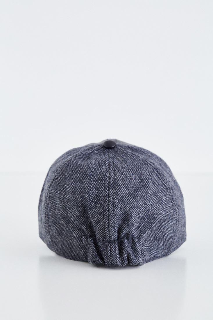 Bayan Siyah Deri Görünümlü Şapka