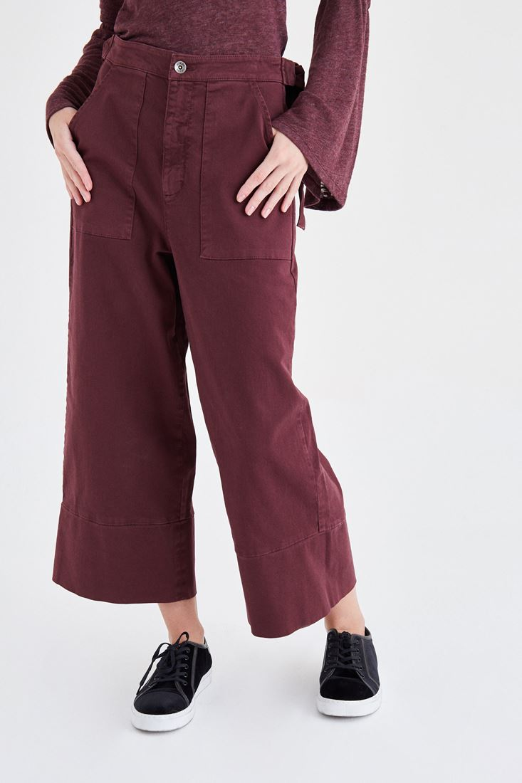Bayan Bordo Bol Kesim Kısa Paça Pantolon