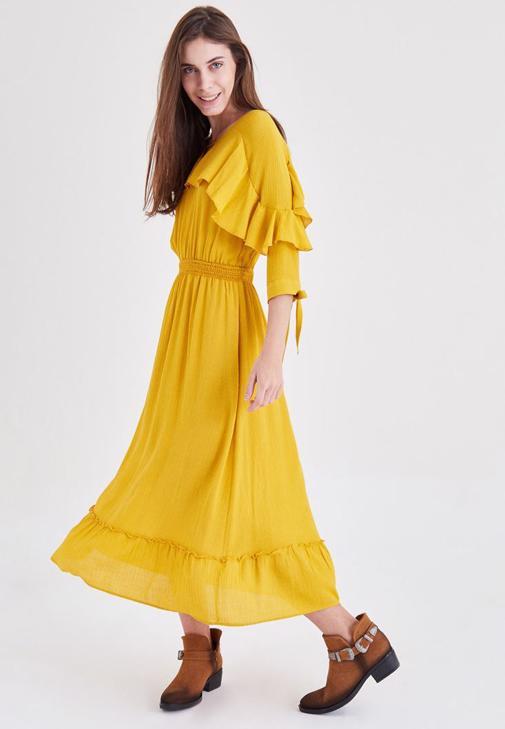 Sarı Fırfırlı Elbise
