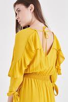 Bayan Sarı Fırfırlı Elbise