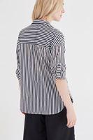 Bayan Siyah Çizgili Bol Gömlek