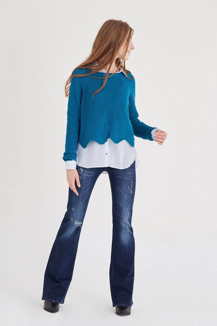 Bayan Mavi Çizgili Bol Gömlek