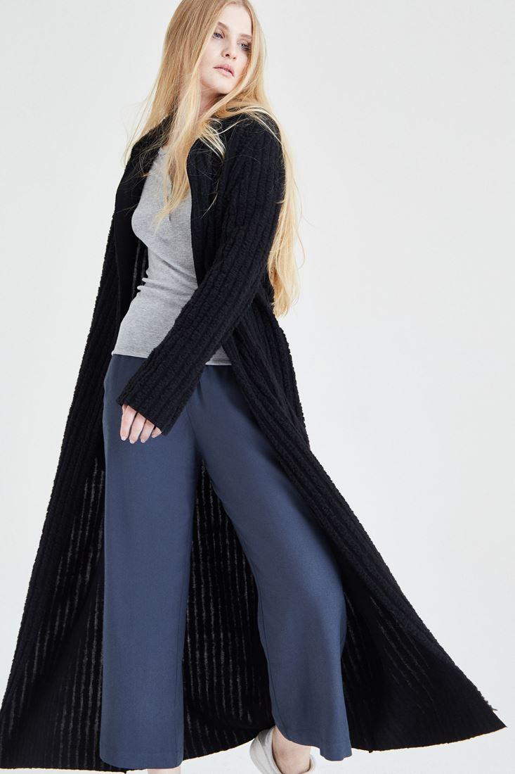 Bayan Siyah Çizgili Uzun Hırka