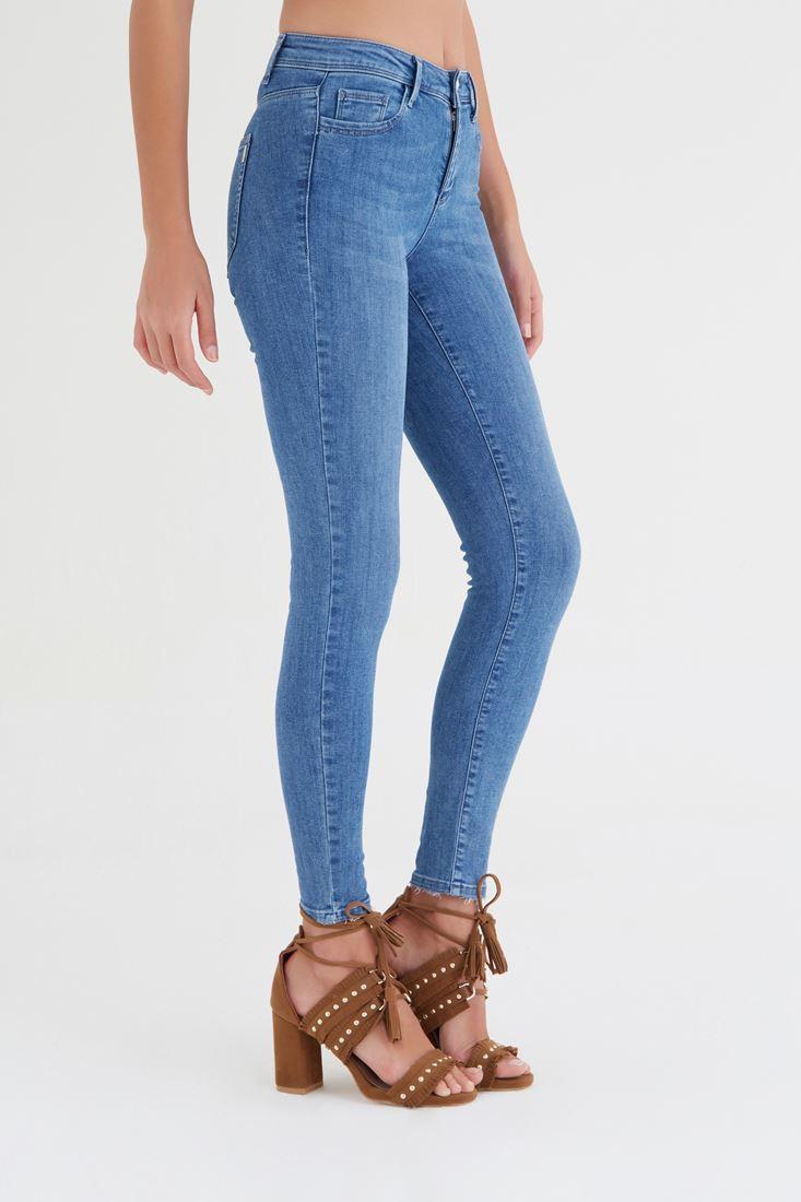 Bayan Mavi Düşük Bel Skinny Jean