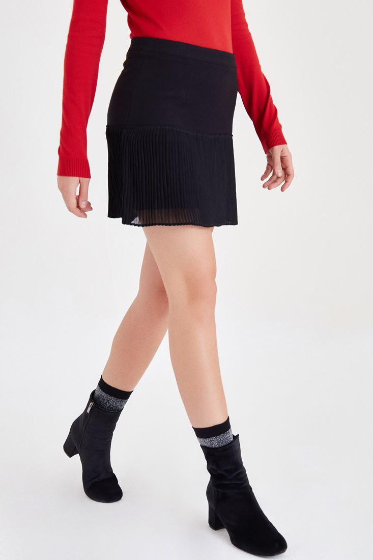 Bayan Siyah Pileli Mini Etek