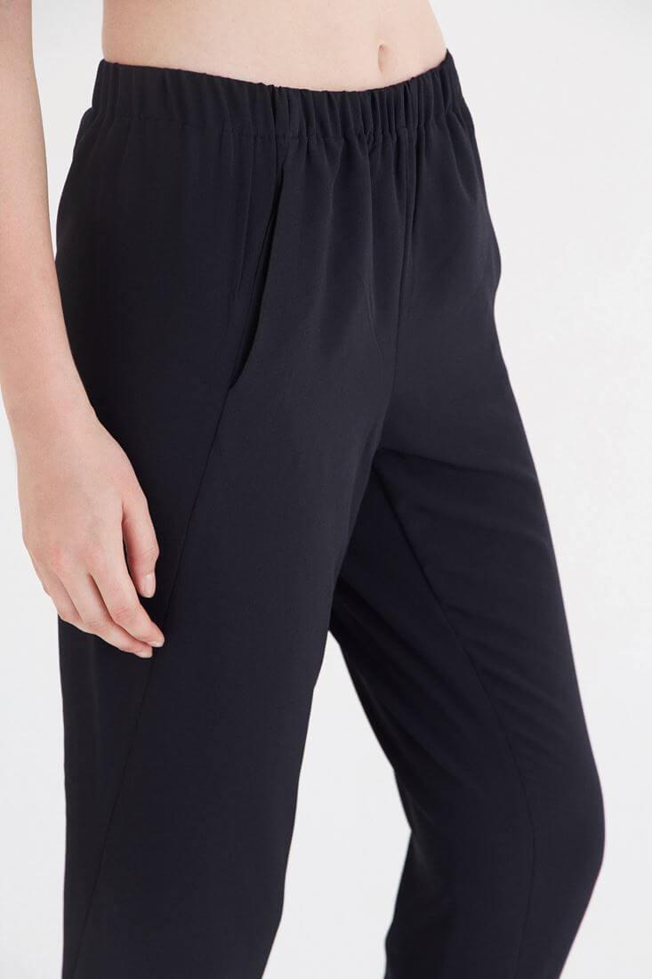 Bayan Siyah Lastikli Krep Pantolon