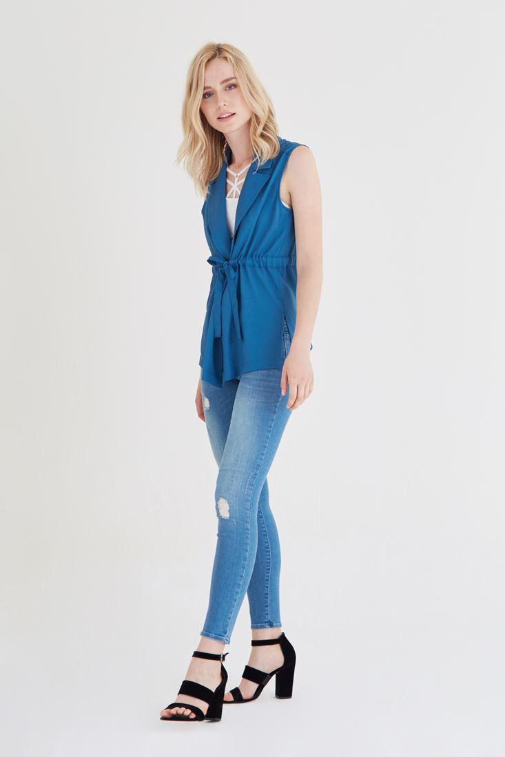 Bayan Mavi Krep Yelek