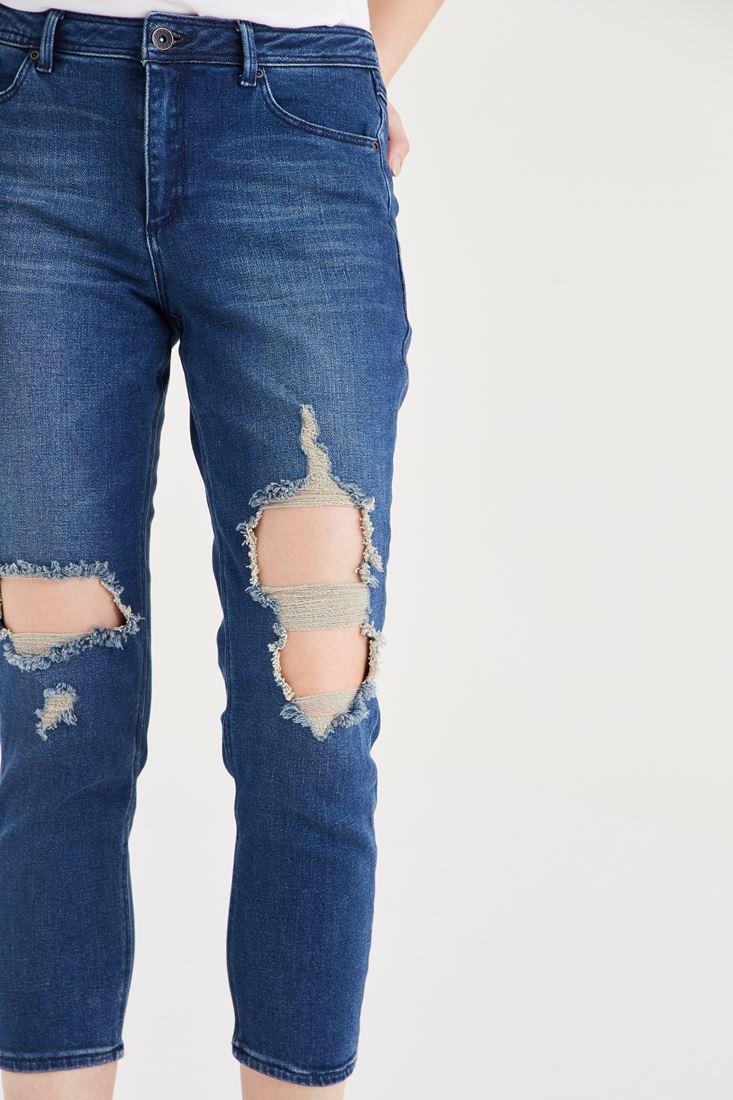 Bayan Mavi Rahat Kesim Denim Pantolon