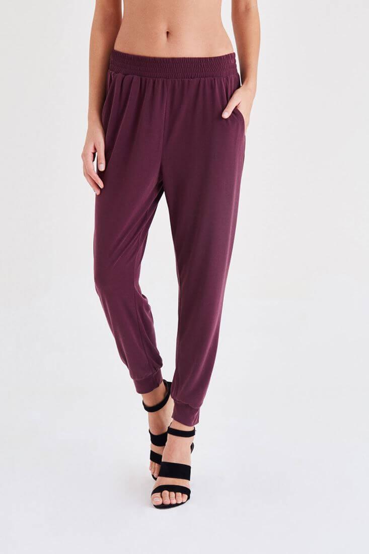 Bayan Bordo  Rahat Kesim Bilekli Pantolon