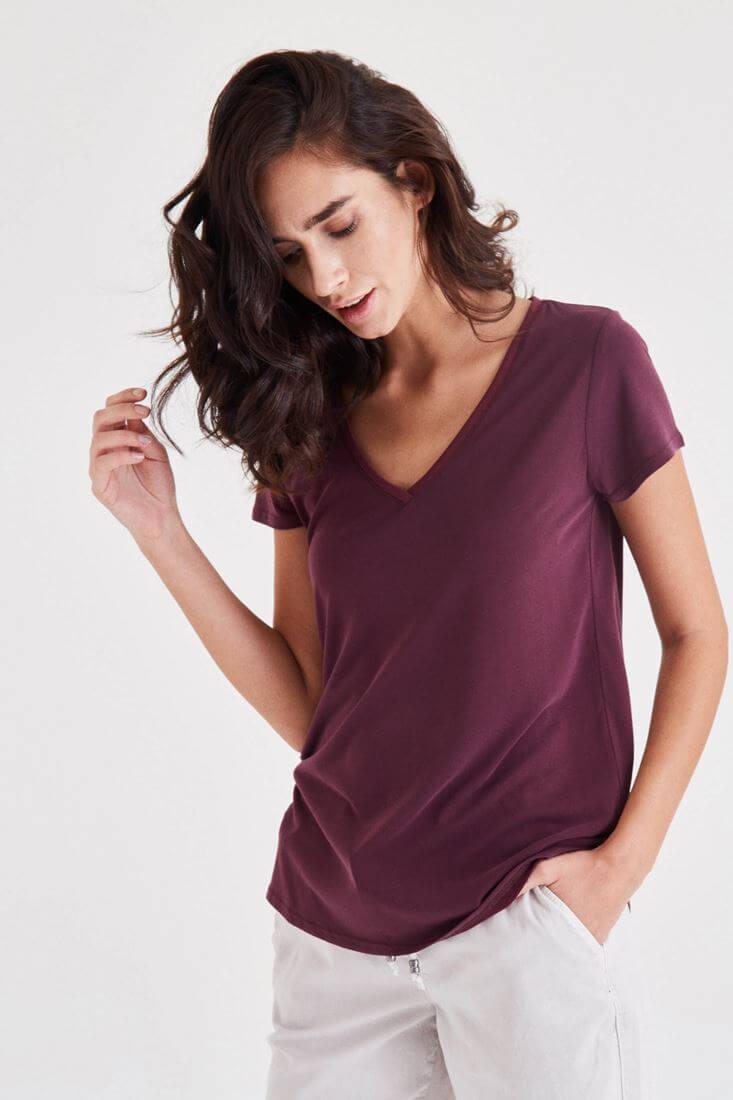Bordo V Yaka Modal Tişört