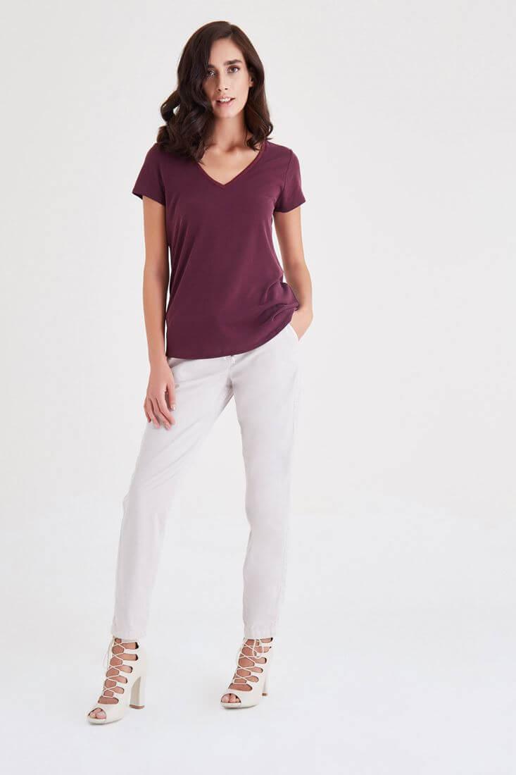 Bayan Bordo V Yaka Modal Tişört