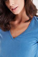 Bayan Mavi V Yaka Modal Tişört