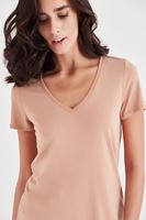 Bayan Kahverengi V Yaka Modal Tişört