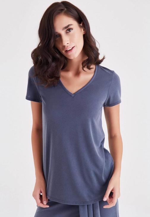 Gri V Yaka Modal Tişört