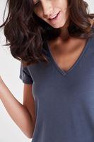Bayan Gri V Yaka Modal Tişört