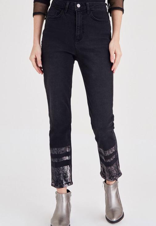 Siyah Baskılı Kot Pantolon