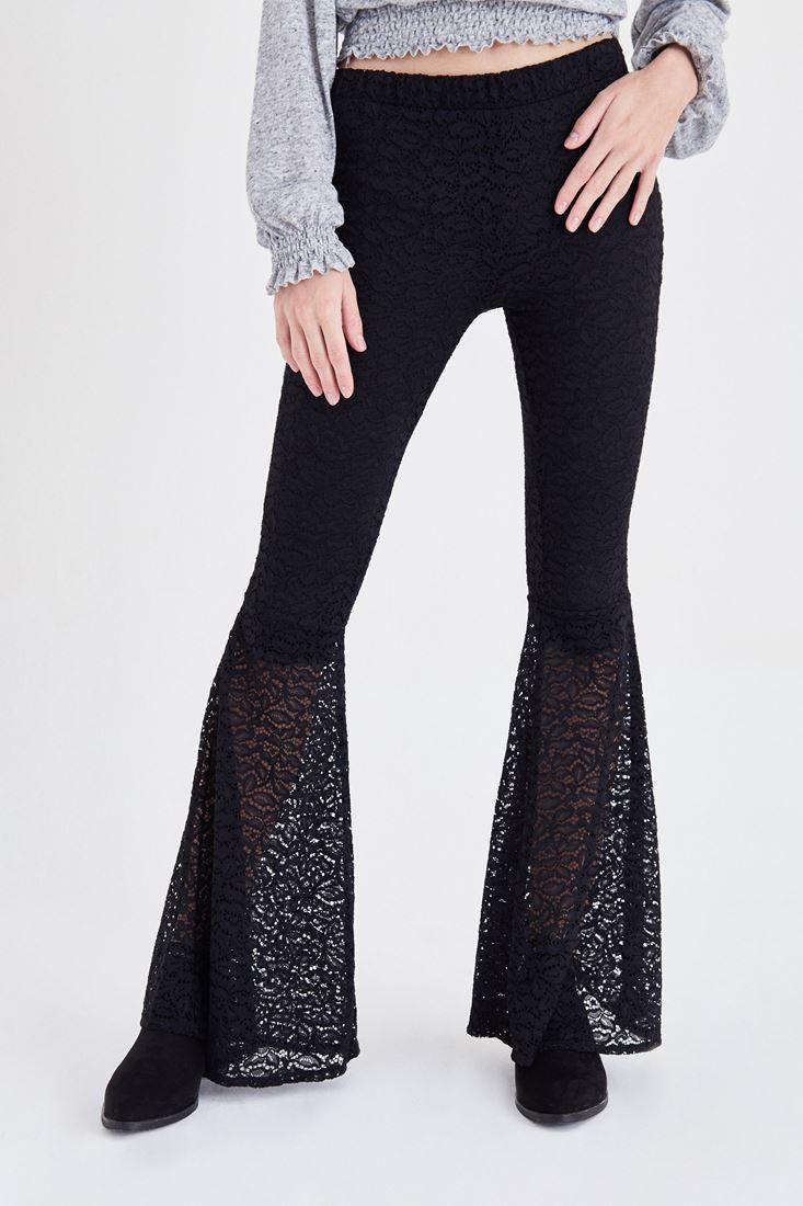 Bayan Siyah Dantel Detaylı İspanyol Paça Pantolon