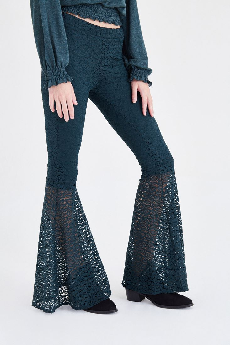 Green Lace Detailed Flare Leg Pants