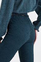 Bayan Yeşil Dantel Detaylı İspanyol Paça Pantolon