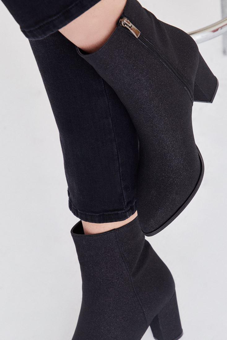Bayan Siyah Simli Ucu Sivri Topuklu Bot