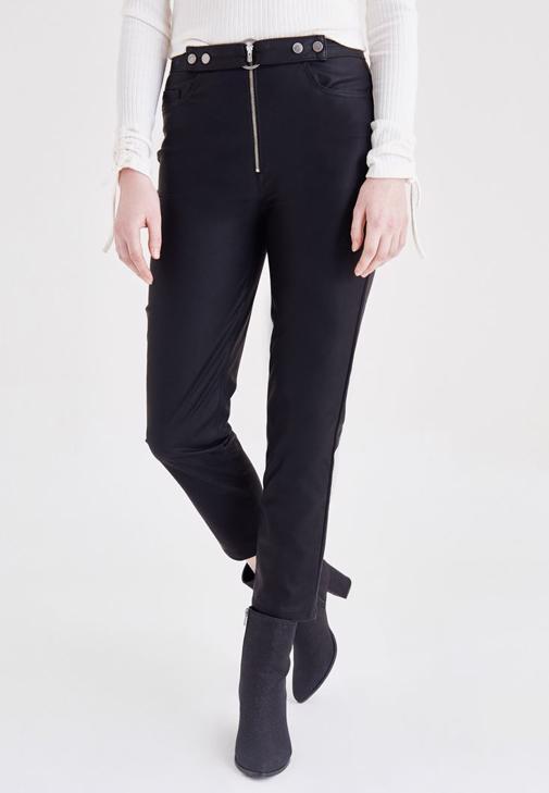 Siyah Fermuar Detaylı Deri Pantolon