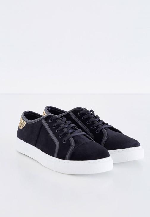 Siyah Kadife Spor Ayakkabı