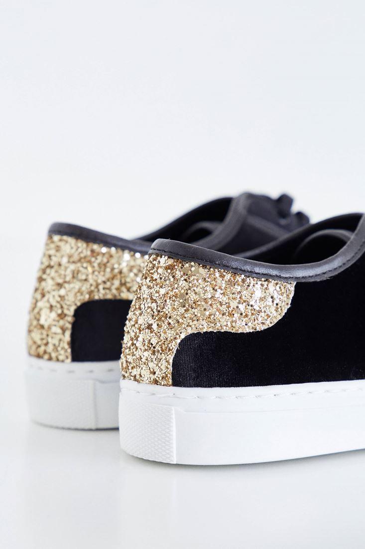 Bayan Siyah Kadife Spor Ayakkabı