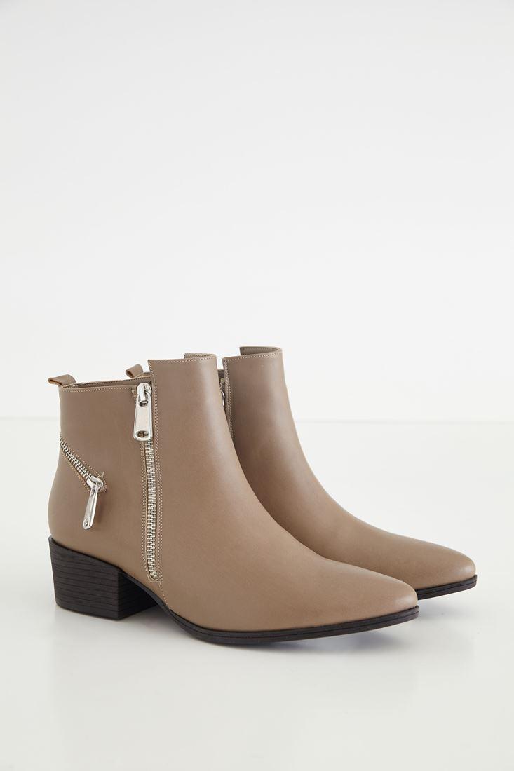Cream Zippered Boot